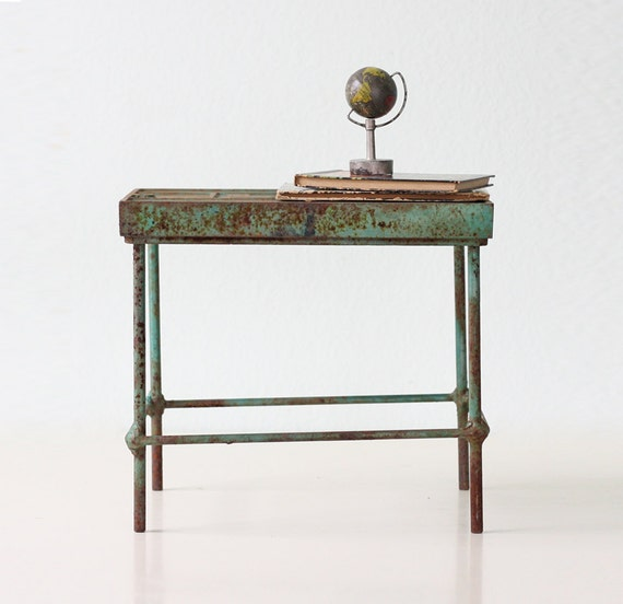 Vintage Industrial Stand Small Green Metal Table By Bellalulu