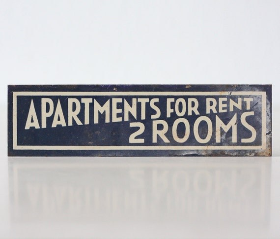 Apartment For Rent Sign: Vintage Sign Apartments For Rent 2 Rooms