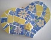 Blue & Yellow Mosaic Heart