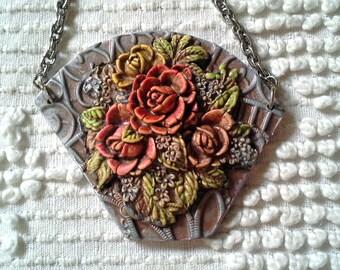 New Old - Flower Basket - Polymer necklace
