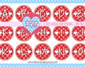 Valentine's Day 2 Alphabet A-Z 1 Inch Bottle Cap Images - Digital Download