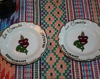 2 old dishes ashtrays La comedie Restaurant Francais Porcelaines goumot Labesse Limoges France
