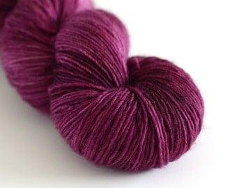 Wine Harvest - Hand Dyed Yarn - Single Ply Merino Wool - Fingering Weight - Tonal Warm Purple - Wine Purple