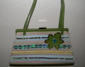 Vintage Oilily handbag, snap shut, green and linen