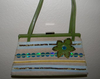 Vintage Oilily handbag, snap shut, green and linen