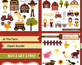 Farm animsla and farmer clipart - barnyard - At the Farm Clipart Bundle