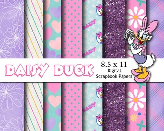 Disney Daisy Duck Inspired 8.5x11 A4 Digital Paper Backgrounds for Digital Scrapbooking, Party Supplies, etc -INSTANT DOWNLOAD -