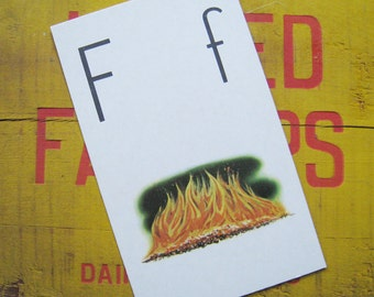 Vintage Large Flash Card - F is for Fire - Great Illustration - 1958