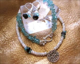Necklace and Earring Set - White Mystic Sapphire, Spectrolite, and Apatite - semiprecious gemstones - sterling silver