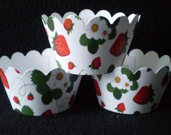 Custom Strawberry Cupcake Wrappers (12)