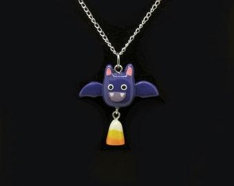 Halloween Bats Love Candy Corn Spoopy Dangle Necklace