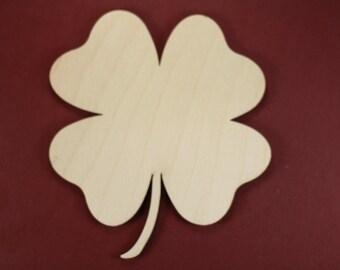 4 Leaf Clover/Shamrock Shape Unfinished Wood Laser Cut Shapes Crafts Variety of Sizes