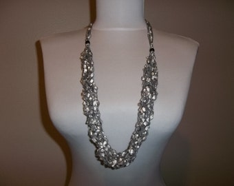 Crocheted Ladder Yarn Necklace 6 Strand Ayda 1233 White Silver and Black with Silver Metallic Adjustable Length