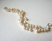 Sterling Silver Pearl Delicate Bridal Bracelet