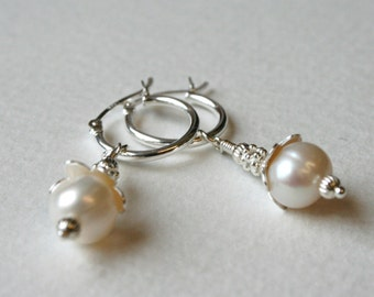 Silver Hoop Dangle Earrings Freshwater Pearl and Silver Bead Detail Bridal Beauty
