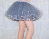 Grey White Piped Costume TuTu Crinoline Skirt MTCoffinz --- Adult All Sizes