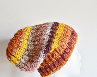 Knit Hat, Slouchy Beanie Hat / Watchcap. Handspun Hand Blended Hand Knit Hat in Autumn Colors - Merino Wool, Silk, Linen, Nylon Glitter