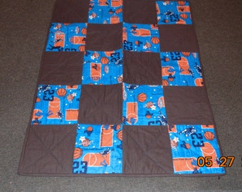 Basketball sport baby blanket toddler quilt cotton flannel REVERSIBLE patchwork