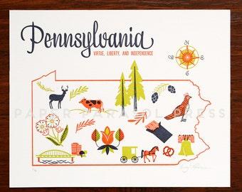 Pennsylvania State Letterpress Print 8x10