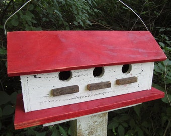 Three Hole Compartment Primitive Birdhouse white red Separate Compartments