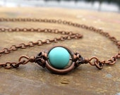 Turquoise necklace Simple copper necklace sky blue Bohemian Jewelry