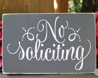 No Soliciting front door sign, welcome sign - Style NS14