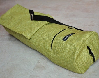 Yoga mat bag, sturdy unisex, green weaved, textured yoga bag for men and women, yoga tote bag with zipper, pockets, and adjustable strap