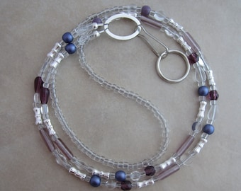 purple silver badge ID lanyard holder