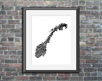 Norway - typography map art print 5x7 - customizable country poster custom wedding engagement graduation gift anniversary wall art decor