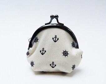 coin purse - Black and white nautical fabric coin purse