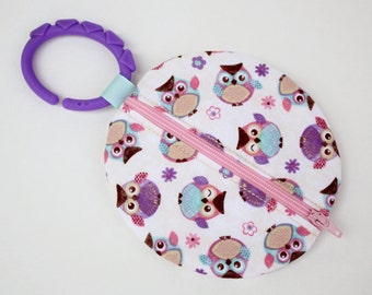 Binky Pouch Pacifier Case Paci Pod Pink and Purple Owl