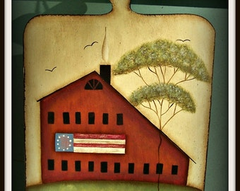 Americana Primitive Saltbox House Plaque Home Decor