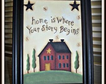 Primitive Saltbox House Canvas Sampler Framed Home Decor Picture
