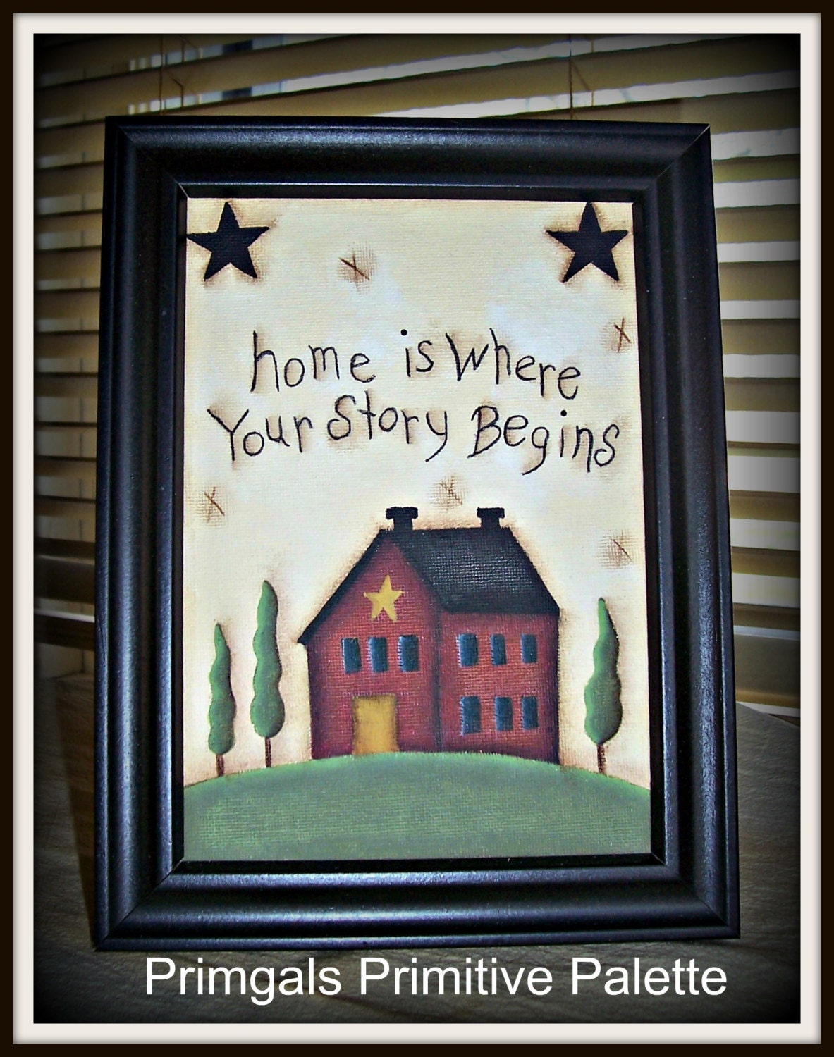 Primitive Saltbox House Canvas Sampler Framed Home Decor