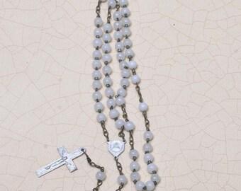 Petite White Glass Rosary