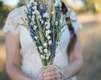 Wildfower Wedding  Brides Bouquet of Lavender Larkspur Wheat and other dried flowers Bridesmaids Home Decor Rustic Boho Occasions
