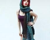 The KISS open end fringe long cowl hood scarf Vegan water turuoise blue aqua teal