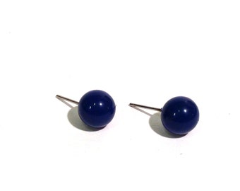 Dark Blue Studs | Dark Sapphire Blue Stud Earrings | vintage lucite posts in almost navy blue #8P-8BL