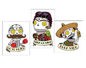 Day of the Dead Small Clear Sticker 3-Pack