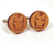 Iron Man Wooden Cuff Links - Superhero Cuff Links