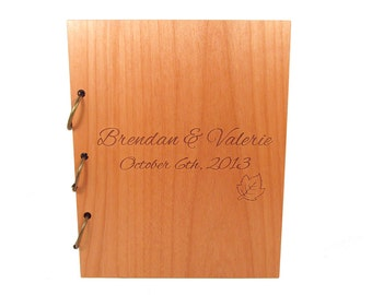 Wooden Wedding Guest Book Photo Album LARGE SIZE - Simple Leaf Design