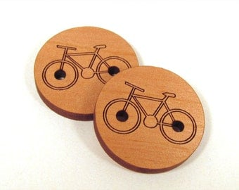 Wooden Bicycle Buttons - Engraved Laser Cut Bike Buttons