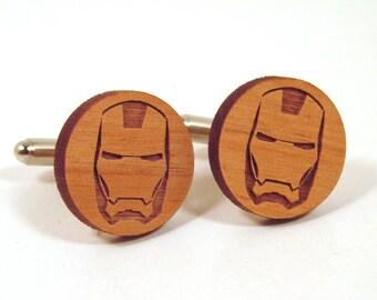 Iron Man Wooden Cuff Links - Superhero Cuff Links