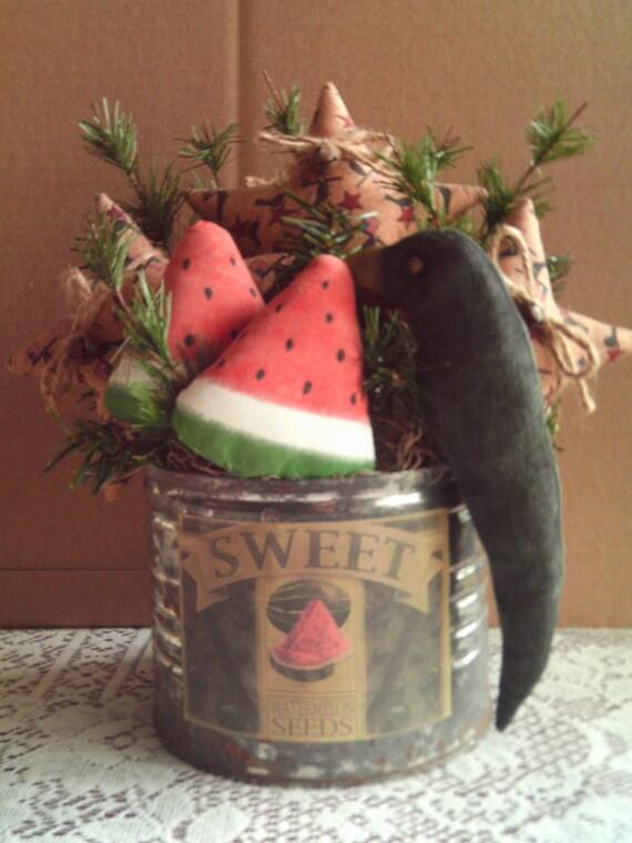 Mother's Day Primitive Americana Arrangement / Watermelon Arrangement / Black Crow Arrangement / Country Sweet Watermelon Arrangement