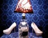 Adventurous Black and Red Pirate's Worst Nightmare Shade on Kragen Rum Bottle Lamp