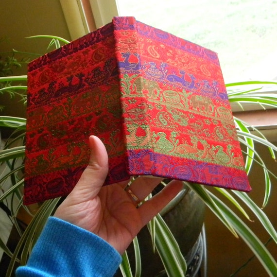 RESERVED - travel the world lined journal - woven silk