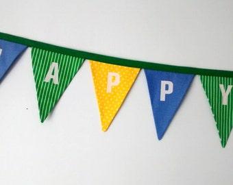 SALE - Fabric Happy Birthday Pennant Banner Bunting