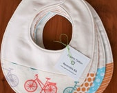 Organic Baby Bib in our Orange and Blue collection, Choose your Favorite Newborn Baby Bib Gift by Organic Quilt Company