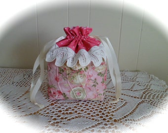Tea & Roses Pink Quilted Drawstring Bag #3