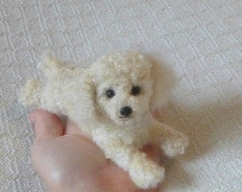 Custom Order Pet Portrait Handmade / poseable Dog / example Miniature Poodle / Fiber Art Doll Miniature